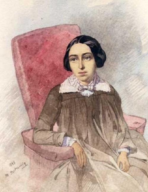 Портрет неизвестной в коричневом. (1845). Автор: Т.Шевченко